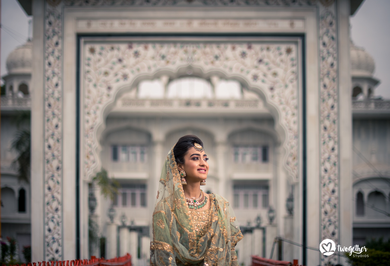 Sikh candid bride portrait Delhi Wedding