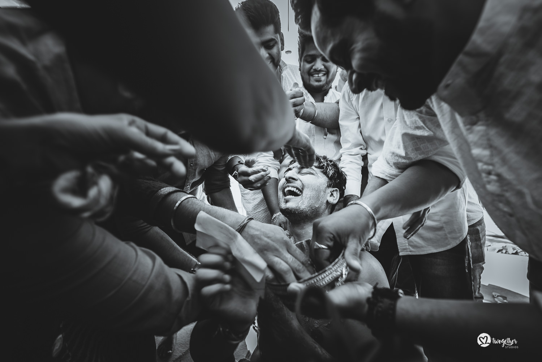 Indian groom haldi ritual wedding photography
